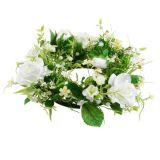 Couronne de roses avec symphorine blanche Ø 28 cm blanc