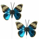 Papillon bleu 7,5cm brillant 4P
