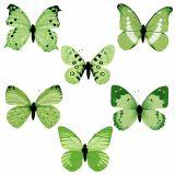 Papillon vert au clip 10cm - 11cm 6P