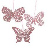 Attaches décoratives papillons fuchsia paillettes 8 cm 12 p.