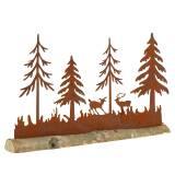 Silhouette en patine forêt avec animaux et pied en bois 30 x 19 cm