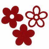 Lot de fleurs en feutrine à parsemer rouge Ø 4 cm 72 p.