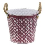 Pot en zinc losange avec poignées de corde violet blanchi Ø 21 cm H. 19 cm