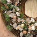Couronne décorative feuille d'argent couronne artificielle de feuilles champagne Ø59cm